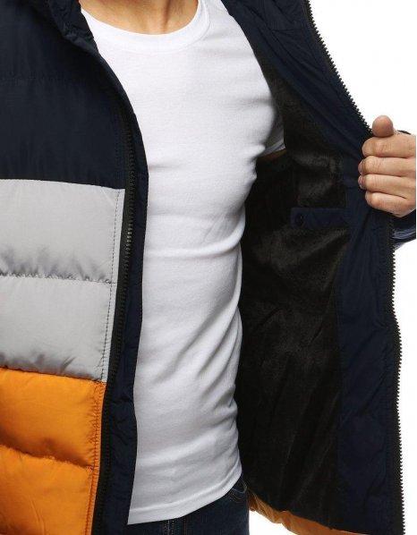 Tmavomodrá zimná prešívaná pánska bunda