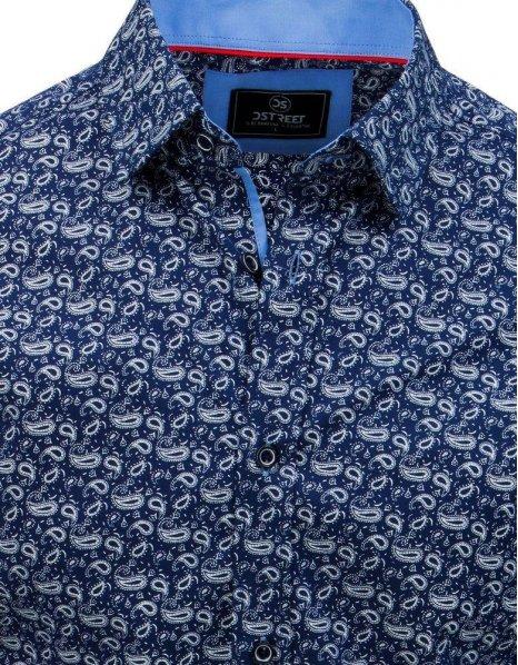 Pánska modrá košeľa s dlhým rukávom
