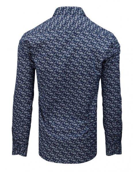 Pánska tmavomodrá košeľa s dlhým rukávom