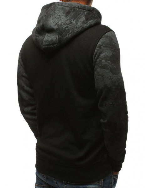 Pánska čierna mikina s kapucňou