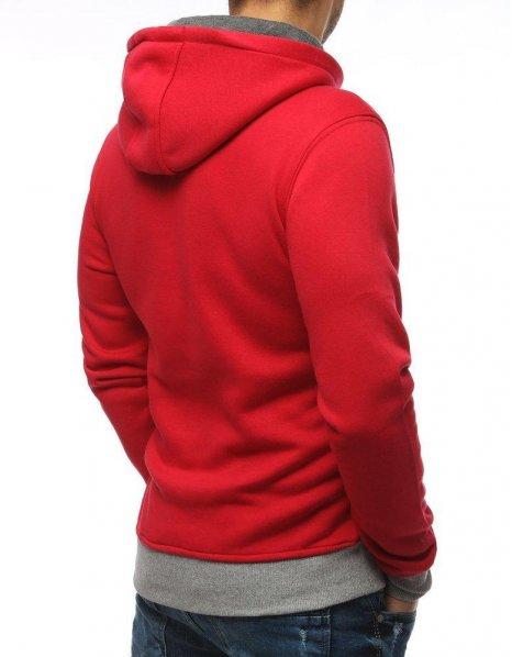 Červená pánska mikina s kapucňou