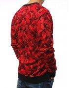 Červená maskáčová pánska mikina bez kapucne