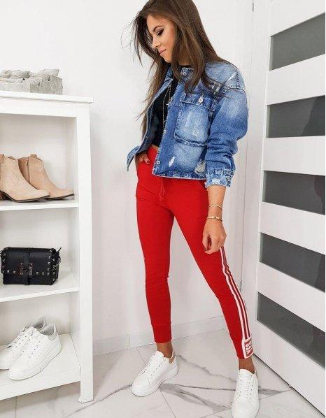 Červené dámske teplákové nohavice Bella