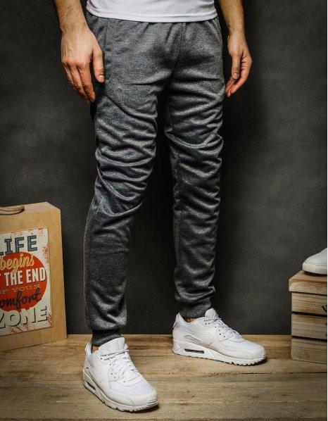 Pánske tmavošedé teplákové nohavice