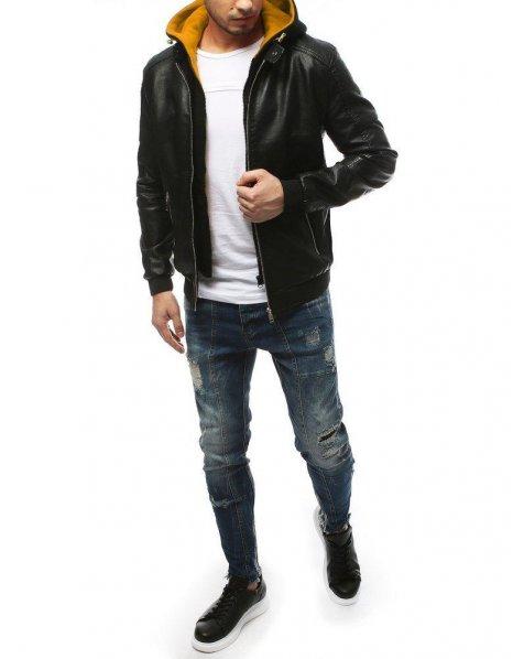 Pánska čierna kožená bunda