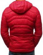 Pánska prešívaná bunda s kapucňou červená