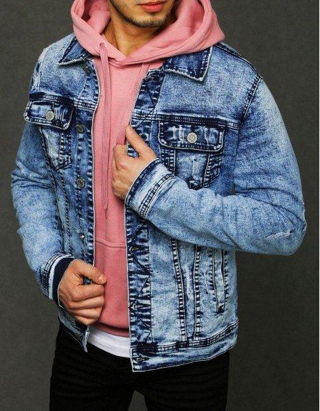 Bunda pánska džínsová modrá